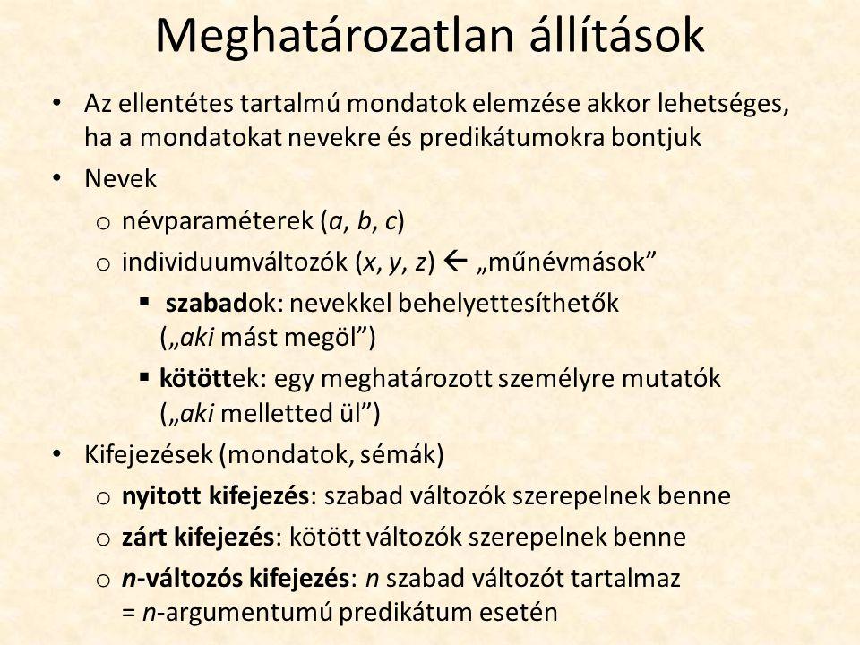 """Meghatározatlan állítások Az ellentétes tartalmú mondatok elemzése akkor lehetséges, ha a mondatokat nevekre és predikátumokra bontjuk Nevek o névparaméterek (a, b, c) o individuumváltozók (x, y, z)  """"műnévmások  szabadok: nevekkel behelyettesíthetők (""""aki mást megöl )  kötöttek: egy meghatározott személyre mutatók (""""aki melletted ül ) Kifejezések (mondatok, sémák) o nyitott kifejezés: szabad változók szerepelnek benne o zárt kifejezés: kötött változók szerepelnek benne o n-változós kifejezés: n szabad változót tartalmaz = n-argumentumú predikátum esetén"""