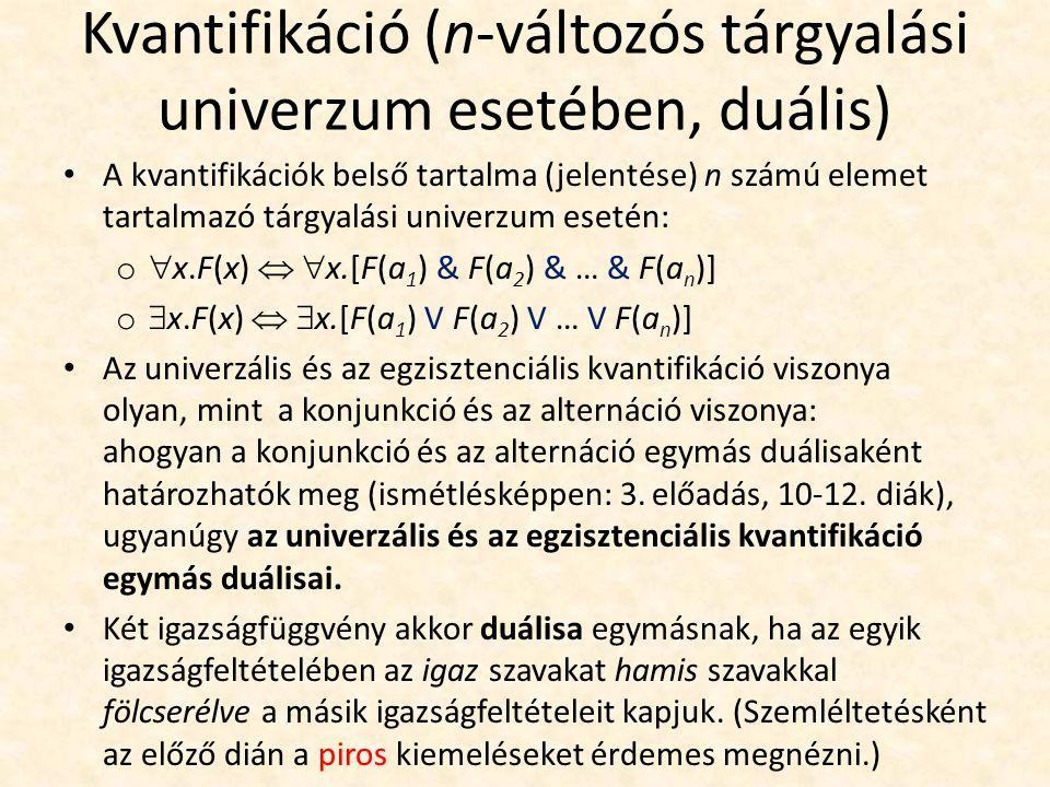 Kvantifikáció (n-változós tárgyalási univerzum esetében, duális) A kvantifikációk belső tartalma (jelentése) n számú elemet tartalmazó tárgyalási univerzum esetén: o  x.F(x)   x.[F(a 1 ) & F(a 2 ) & … & F(a n )] o  x.F(x)   x.[F(a 1 ) V F(a 2 ) V … V F(a n )] Az univerzális és az egzisztenciális kvantifikáció viszonya olyan, mint a konjunkció és az alternáció viszonya: ahogyan a konjunkció és az alternáció egymás duálisaként határozhatók meg (ismétlésképpen: 3.