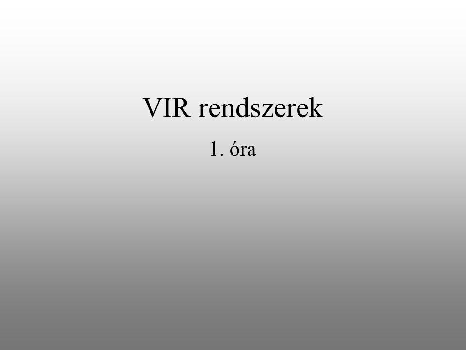 Ütemterv 1.VIR rendszerek alapfogalmai 2. VIR vállalati modellek 3.