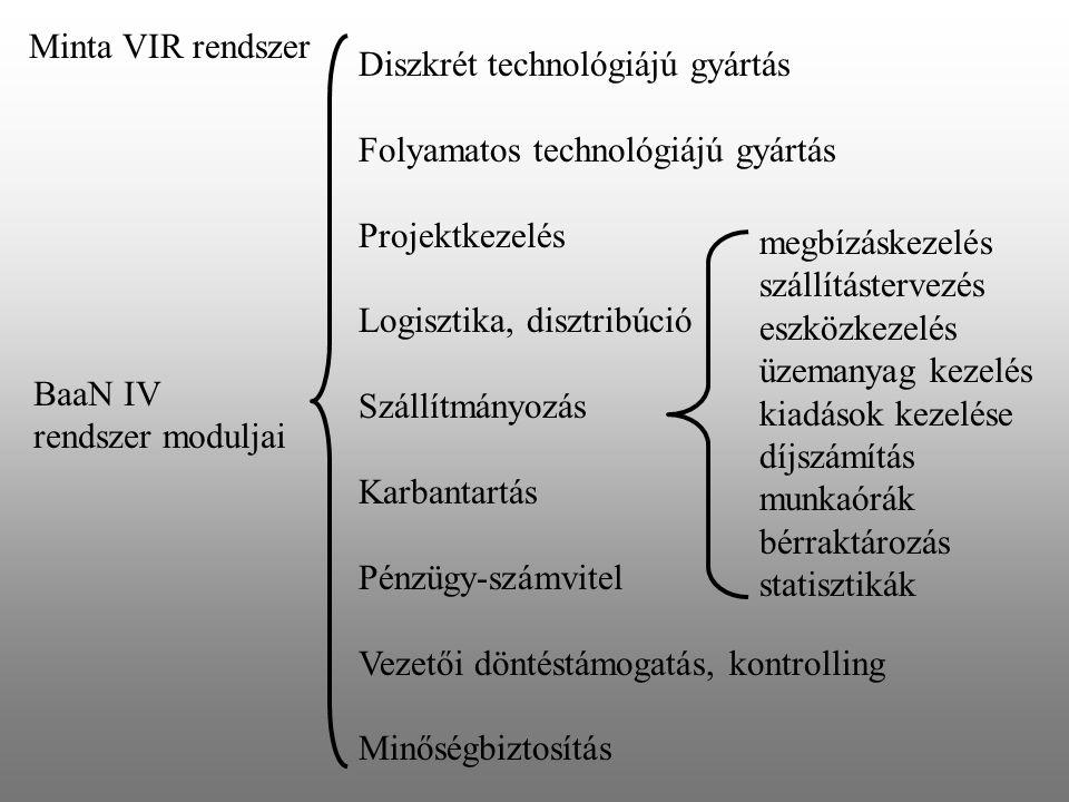 Minta VIR rendszer BaaN IV rendszer moduljai Diszkrét technológiájú gyártás Folyamatos technológiájú gyártás Projektkezelés Logisztika, disztribúció S