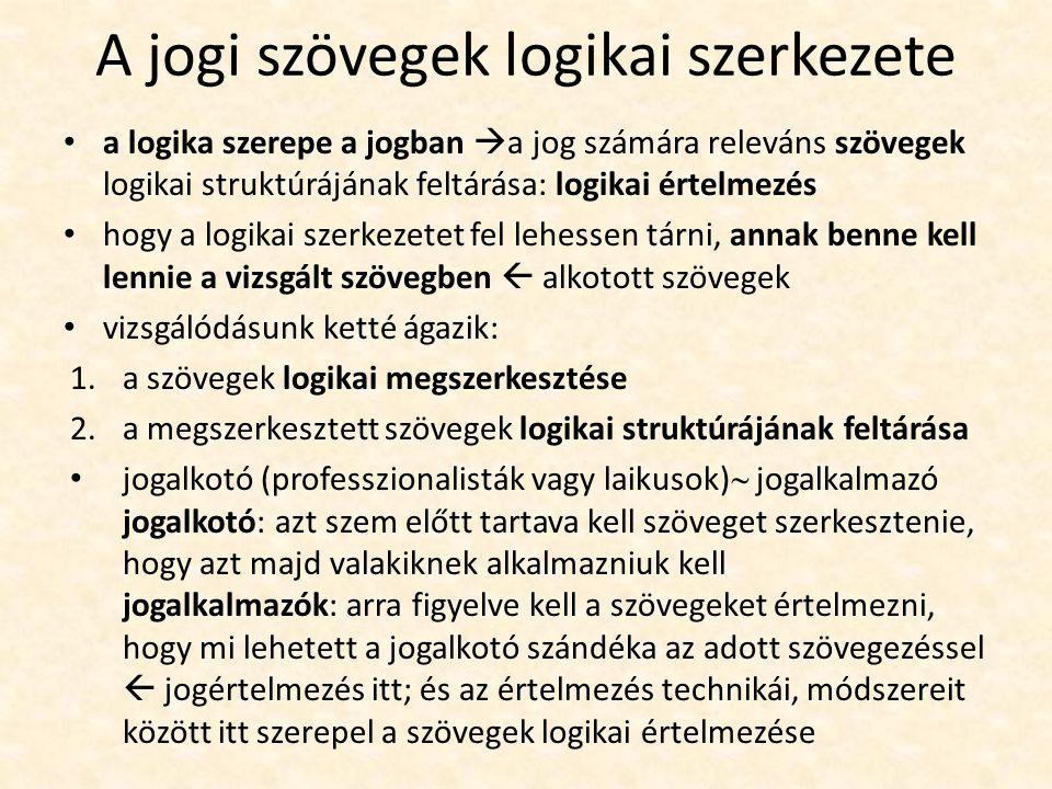 A jogi szövegek logikai szerkezete a logika szerepe a jogban  a jog számára releváns szövegek logikai struktúrájának feltárása: logikai értelmezés hogy a logikai szerkezetet fel lehessen tárni, annak benne kell lennie a vizsgált szövegben  alkotott szövegek vizsgálódásunk ketté ágazik: 1.a szövegek logikai megszerkesztése 2.a megszerkesztett szövegek logikai struktúrájának feltárása jogalkotó (professzionalisták vagy laikusok)  jogalkalmazó jogalkotó: azt szem előtt tartava kell szöveget szerkesztenie, hogy azt majd valakiknek alkalmazniuk kell jogalkalmazók: arra figyelve kell a szövegeket értelmezni, hogy mi lehetett a jogalkotó szándéka az adott szövegezéssel  jogértelmezés itt; és az értelmezés technikái, módszereit között itt szerepel a szövegek logikai értelmezése