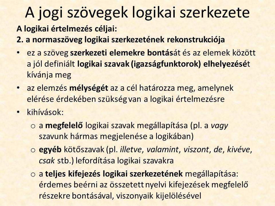 A jogi szövegek logikai szerkezete A logikai értelmezés céljai: 2.
