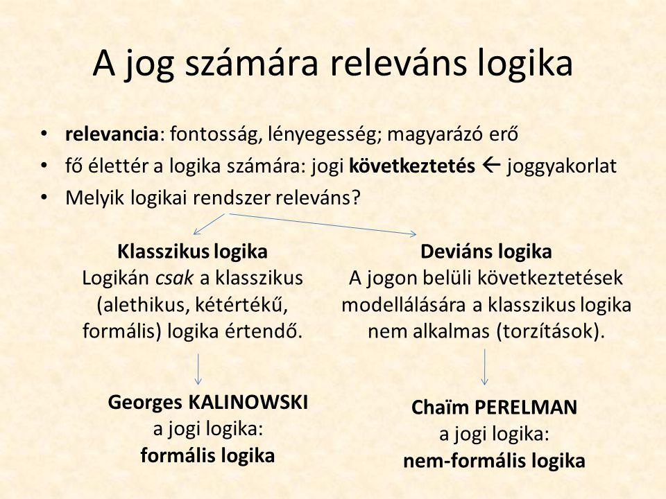 A jog számára releváns logika relevancia: fontosság, lényegesség; magyarázó erő fő élettér a logika számára: jogi következtetés  joggyakorlat Melyik logikai rendszer releváns.