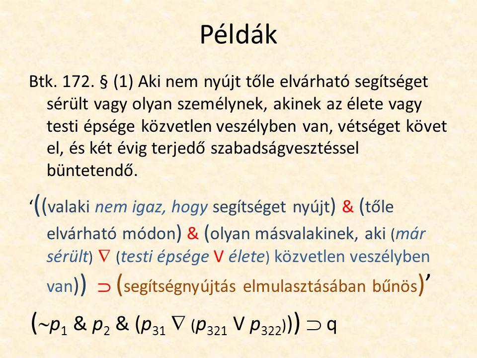 Példák Btk. 172.