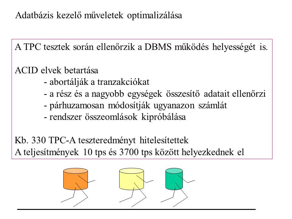 Adatbázis kezelő műveletek optimalizálása A TPC tesztek során ellenőrzik a DBMS működés helyességét is.