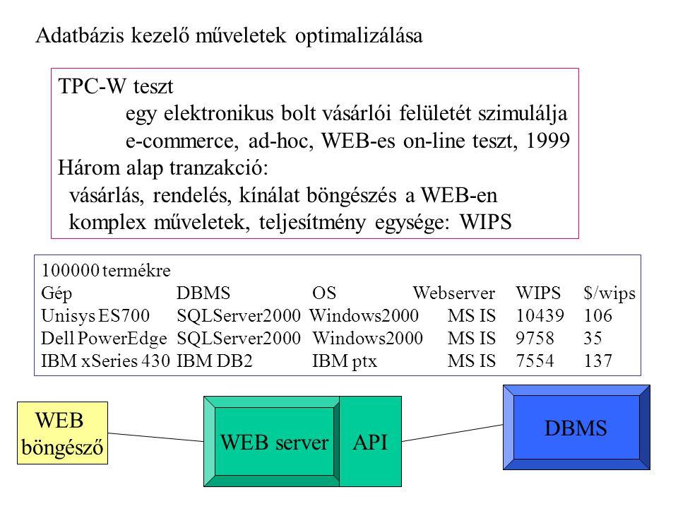 TPC-W teszt egy elektronikus bolt vásárlói felületét szimulálja e-commerce, ad-hoc, WEB-es on-line teszt, 1999 Három alap tranzakció: vásárlás, rendelés, kínálat böngészés a WEB-en komplex műveletek, teljesítmény egysége: WIPS 100000 termékre GépDBMSOS WebserverWIPS$/wips Unisys ES700SQLServer2000 Windows2000 MS IS10439106 Dell PowerEdgeSQLServer2000Windows2000MS IS975835 IBM xSeries 430IBM DB2IBM ptxMS IS7554137 Adatbázis kezelő műveletek optimalizálása WEB server DBMS WEB böngésző API
