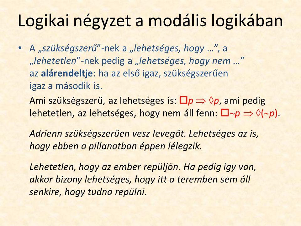 """Logikai négyzet a modális logikában A """"szükségszerű -nek a """"lehetséges, hogy … , a """"lehetetlen -nek pedig a """"lehetséges, hogy nem … az alárendeltje: ha az első igaz, szükségszerűen igaz a második is."""