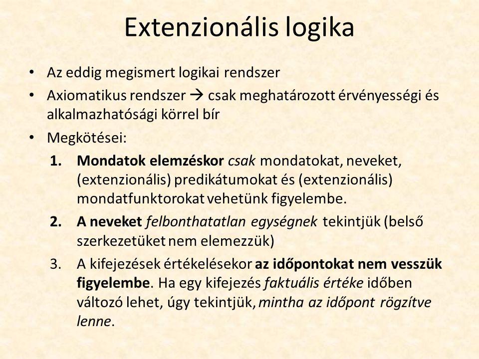 """Extenzionális logika Faktuális érték (extenzió): """"amit egy nyelvi kifejezés jelöl vagy amire referál (Frege) A faktuális érték hatékonyan kezelhető a klasszikus logikai elméletekben a változó- vagy igazságértékeléseken keresztül: egy individuumnév faktuális értéke a tárgyalási univerzum egy eleme, egy mondat faktuális értéke pedig az igazságértéke."""