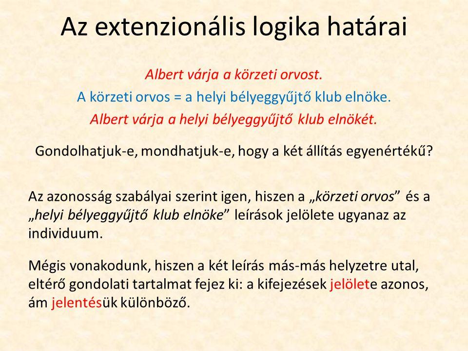 Az extenzionális logika határai A tradicionális és a modern logikára is igaz, hogy formális  következtetéseinek helyességét kizárólag a kifejezések logikai szerkezetéből és a logikai szavak jelentéséből származtatja.