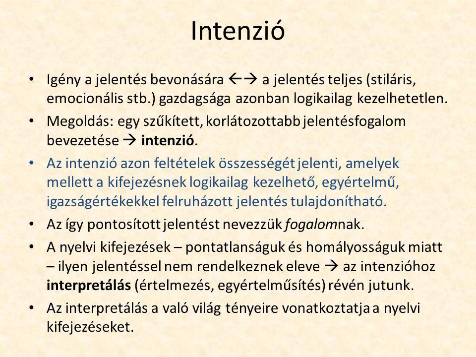Individuumnév extenziója és intenziója Individuumnév extenziója: a jelölt individuális dolog.