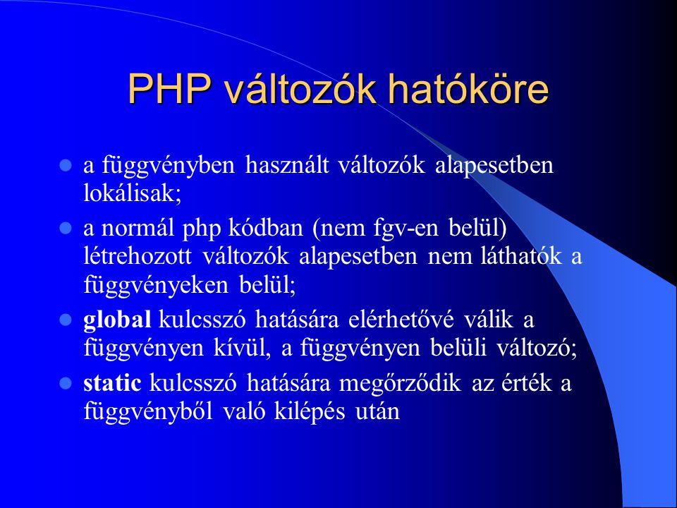 PHP változók hatóköre a függvényben használt változók alapesetben lokálisak; a normál php kódban (nem fgv-en belül) létrehozott változók alapesetben nem láthatók a függvényeken belül; global kulcsszó hatására elérhetővé válik a függvényen kívül, a függvényen belüli változó; static kulcsszó hatására megőrződik az érték a függvényből való kilépés után