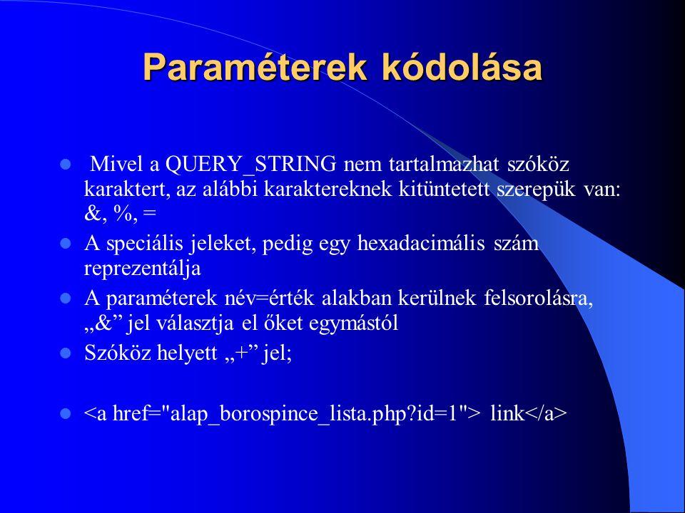 """Paraméterek kódolása Mivel a QUERY_STRING nem tartalmazhat szóköz karaktert, az alábbi karaktereknek kitüntetett szerepük van: &, %, = A speciális jeleket, pedig egy hexadacimális szám reprezentálja A paraméterek név=érték alakban kerülnek felsorolásra, """"& jel választja el őket egymástól Szóköz helyett """"+ jel; link"""