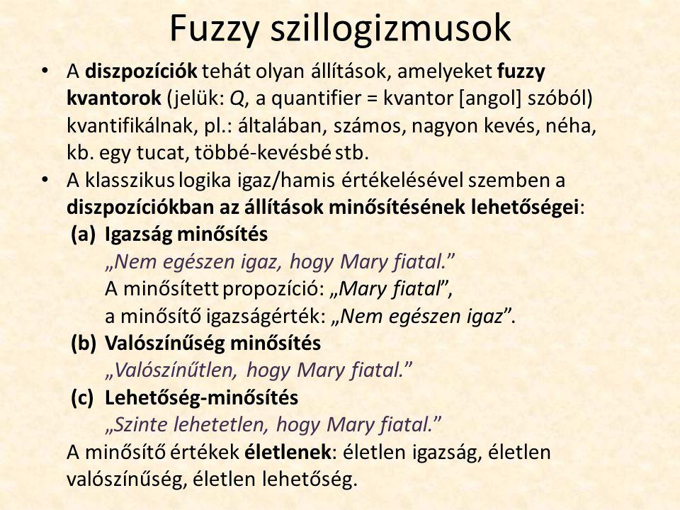Fuzzy szillogizmusok A diszpozíciók tehát olyan állítások, amelyeket fuzzy kvantorok (jelük: Q, a quantifier = kvantor [angol] szóból) kvantifikálnak, pl.: általában, számos, nagyon kevés, néha, kb.