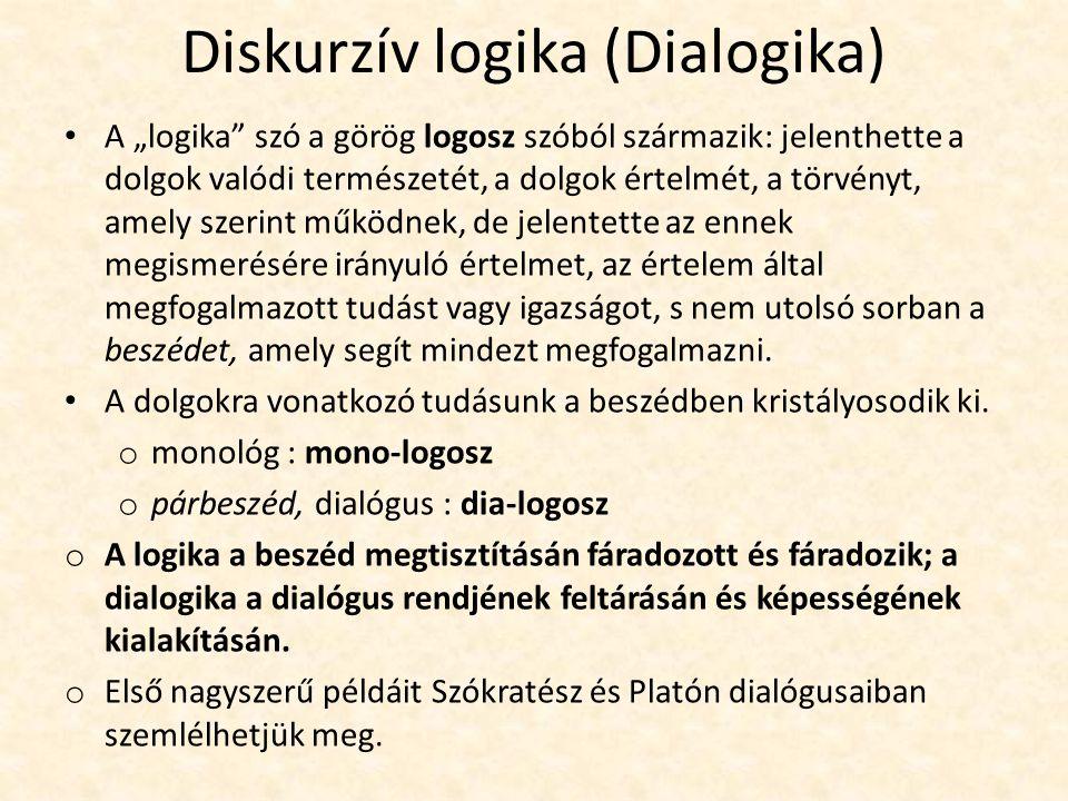 """Diskurzív logika (Dialogika) A """"logika szó a görög logosz szóból származik: jelenthette a dolgok valódi természetét, a dolgok értelmét, a törvényt, amely szerint működnek, de jelentette az ennek megismerésére irányuló értelmet, az értelem által megfogalmazott tudást vagy igazságot, s nem utolsó sorban a beszédet, amely segít mindezt megfogalmazni."""