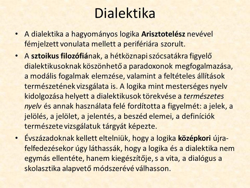 Dialektika A dialektika a hagyományos logika Arisztotelész nevével fémjelzett vonulata mellett a perifériára szorult.
