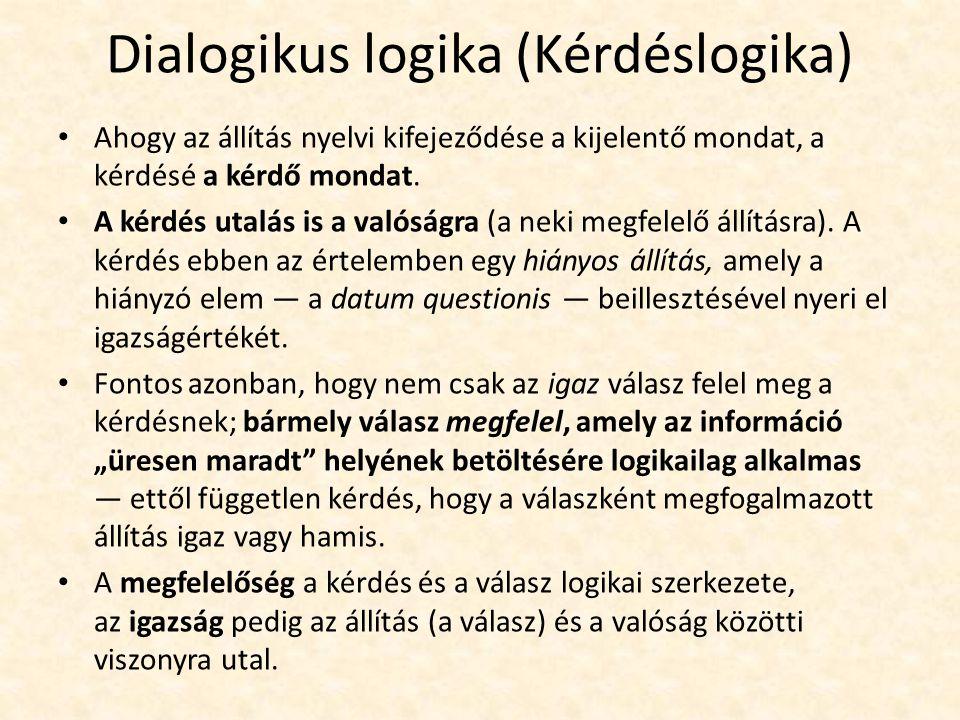 Dialogikus logika (Kérdéslogika) Ahogy az állítás nyelvi kifejeződése a kijelentő mondat, a kérdésé a kérdő mondat.