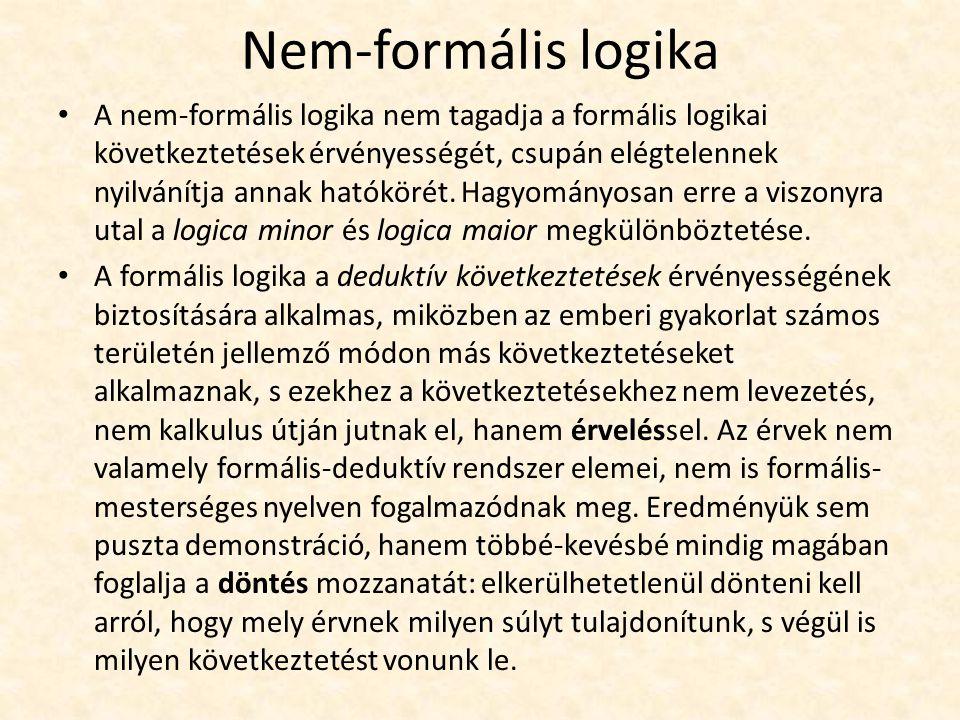 Nem-formális logika A nem-formális logika nem tagadja a formális logikai következtetések érvényességét, csupán elégtelennek nyilvánítja annak hatókörét.