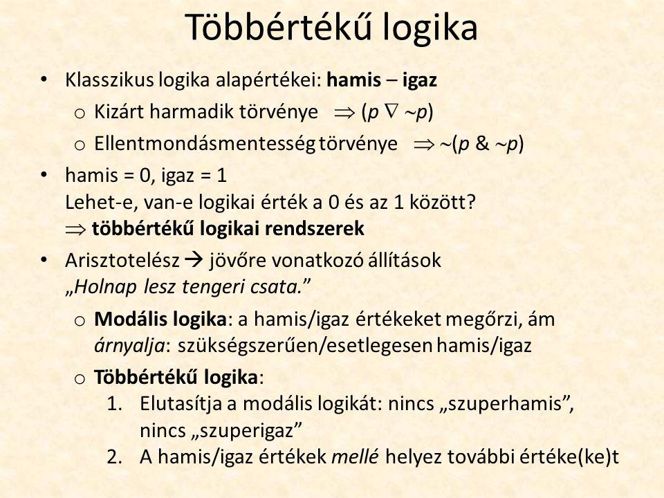 Többértékű logika Klasszikus logika alapértékei: hamis – igaz o Kizárt harmadik törvénye  (p   p) o Ellentmondásmentesség törvénye   (p &  p) hamis = 0, igaz = 1 Lehet-e, van-e logikai érték a 0 és az 1 között.