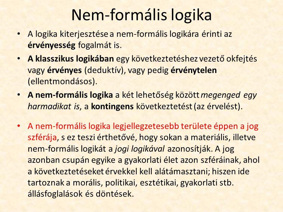 Nem-formális logika A logika kiterjesztése a nem-formális logikára érinti az érvényesség fogalmát is.