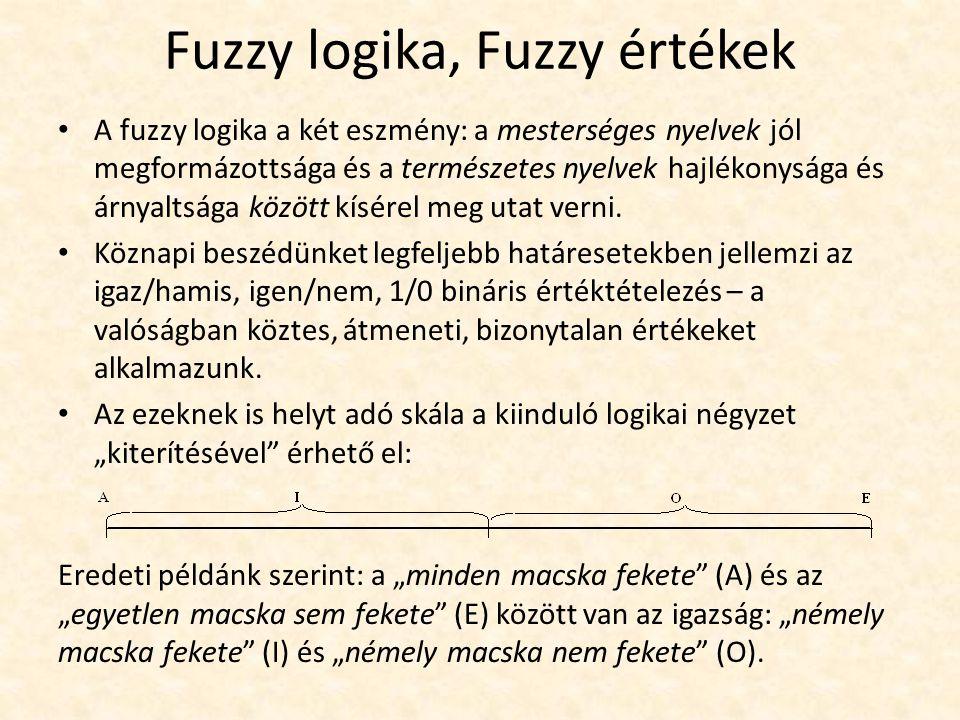 Fuzzy logika, Fuzzy értékek A fuzzy logika a két eszmény: a mesterséges nyelvek jól megformázottsága és a természetes nyelvek hajlékonysága és árnyaltsága között kísérel meg utat verni.
