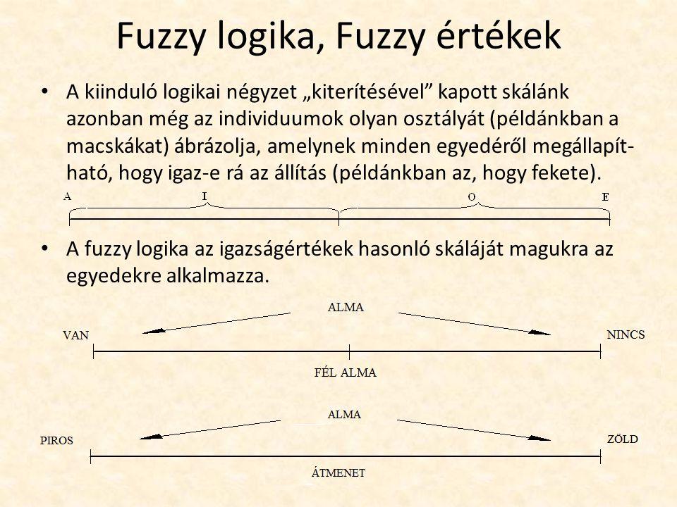 """Fuzzy logika, Fuzzy értékek A kiinduló logikai négyzet """"kiterítésével kapott skálánk azonban még az individuumok olyan osztályát (példánkban a macskákat) ábrázolja, amelynek minden egyedéről megállapít- ható, hogy igaz-e rá az állítás (példánkban az, hogy fekete)."""