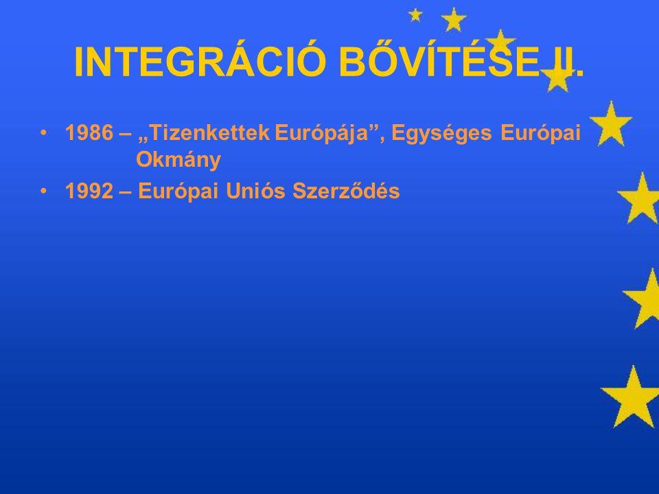 """1986 – """"Tizenkettek Európája"""", Egységes Európai Okmány 1992 – Európai Uniós Szerződés INTEGRÁCIÓ BŐVÍTÉSE II."""