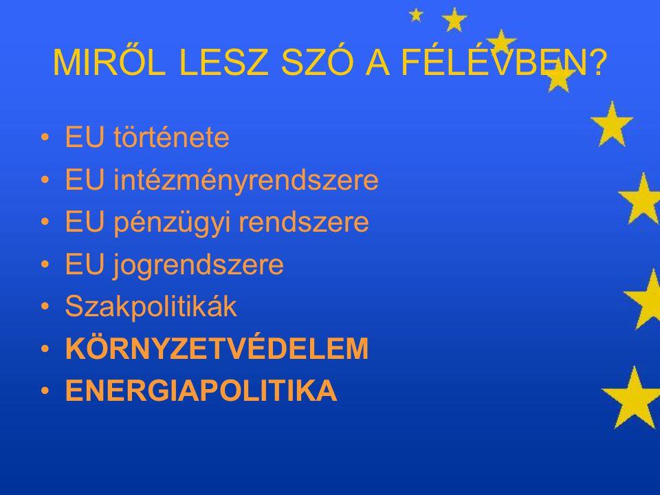 MIRŐL LESZ SZÓ A FÉLÉVBEN? EU története EU intézményrendszere EU pénzügyi rendszere EU jogrendszere Szakpolitikák KÖRNYZETVÉDELEM ENERGIAPOLITIKA