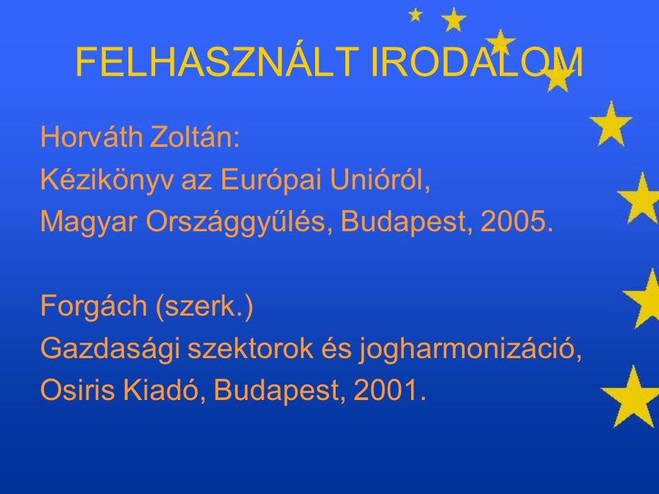 FELHASZNÁLT IRODALOM Horváth Zoltán: Kézikönyv az Európai Unióról, Magyar Országgyűlés, Budapest, 2005. Forgách (szerk.) Gazdasági szektorok és joghar