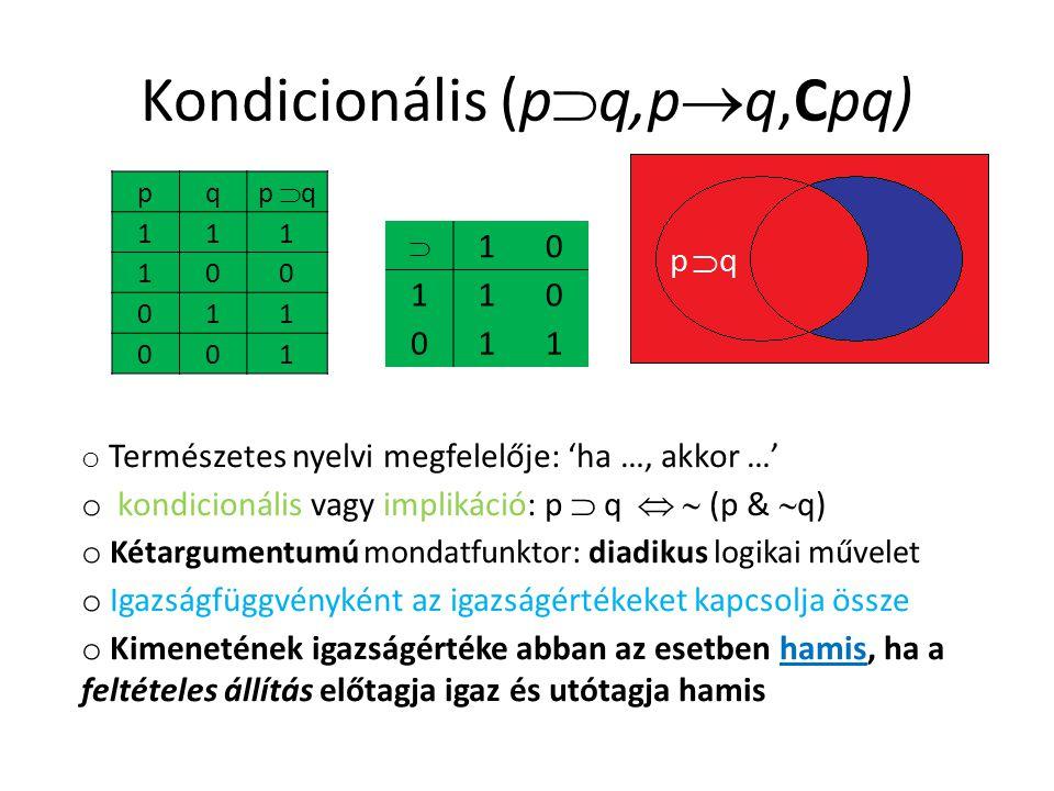 Kondicionális (p  q,p  q,Cpq)  10 110 011 o Természetes nyelvi megfelelője: 'ha …, akkor …' o kondicionális vagy implikáció: p  q   (p &  q) o