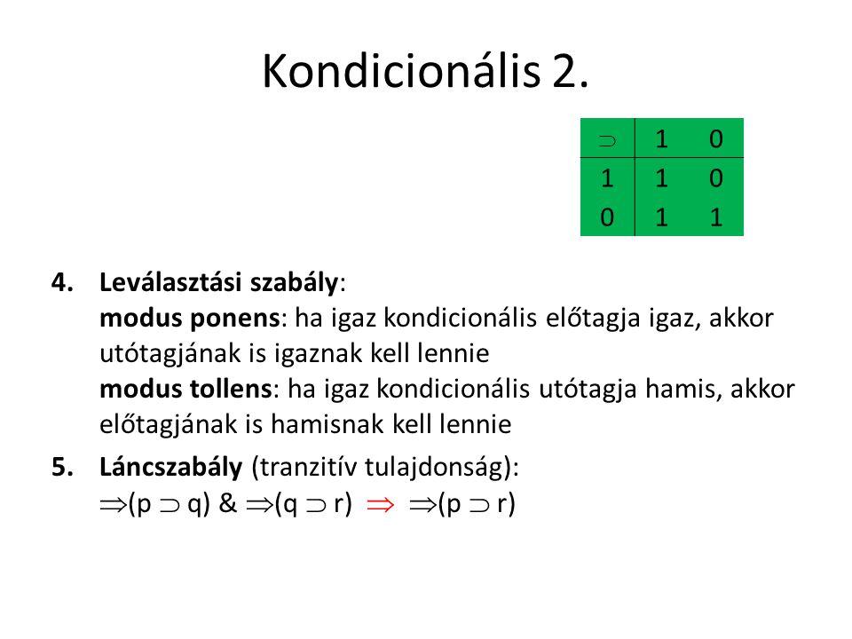 Kondicionális 2. 4.Leválasztási szabály: modus ponens: ha igaz kondicionális előtagja igaz, akkor utótagjának is igaznak kell lennie modus tollens: ha