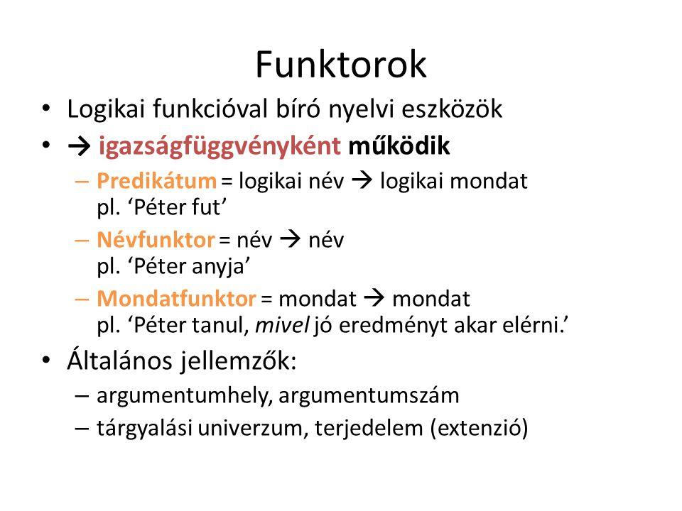 Funktorok Logikai funkcióval bíró nyelvi eszközök → igazságfüggvényként működik – Predikátum = logikai név  logikai mondat pl. 'Péter fut' – Névfunkt