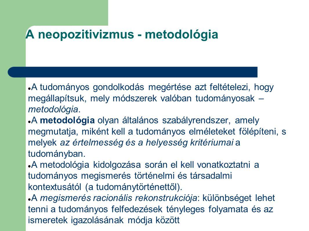 A neopozitivizmus - metodológia A tudományos gondolkodás megértése azt feltételezi, hogy megállapítsuk, mely módszerek valóban tudományosak – metodológia.