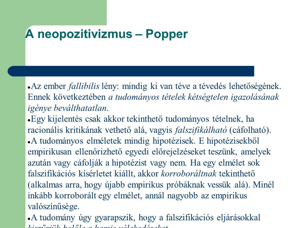 A neopozitivizmus – Popper Az ember fallibilis lény: mindig ki van téve a tévedés lehetőségének.