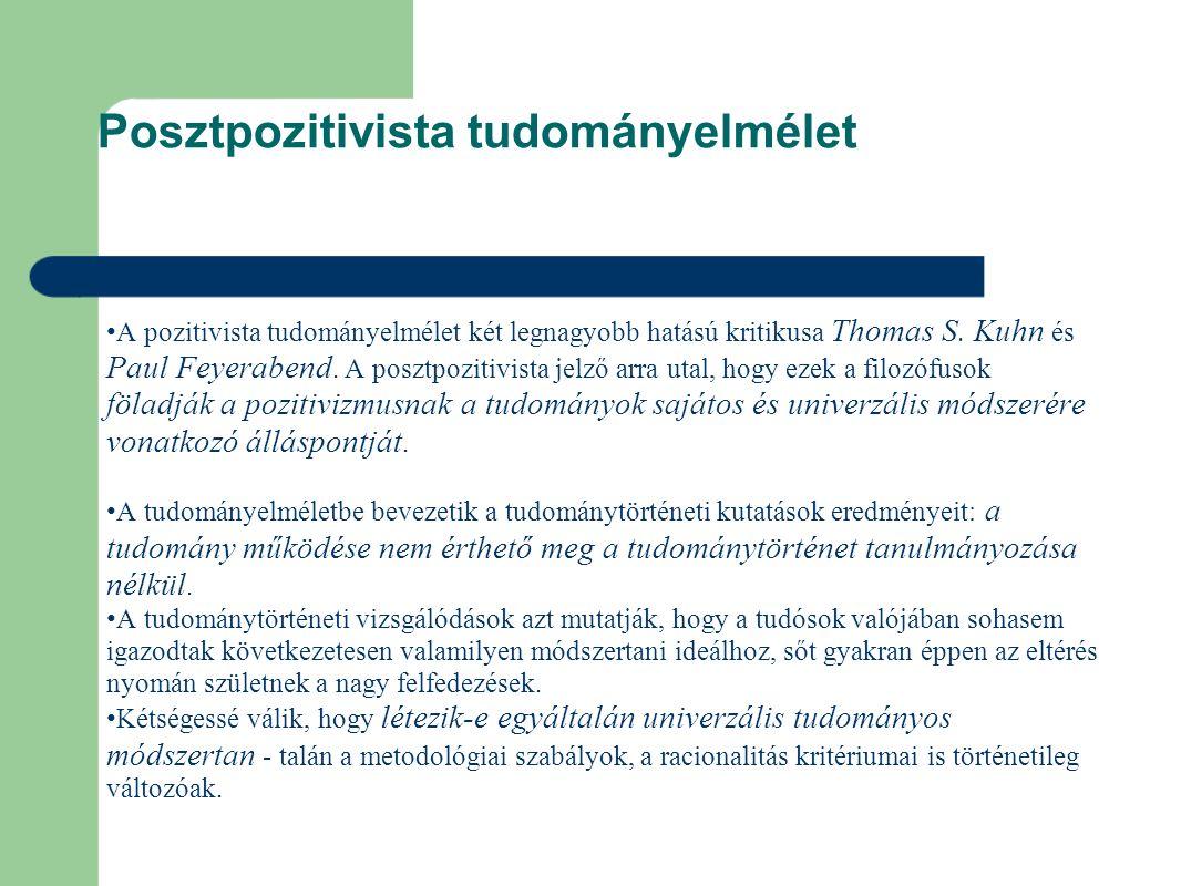 Posztpozitivista tudományelmélet A pozitivista tudományelmélet két legnagyobb hatású kritikusa Thomas S.