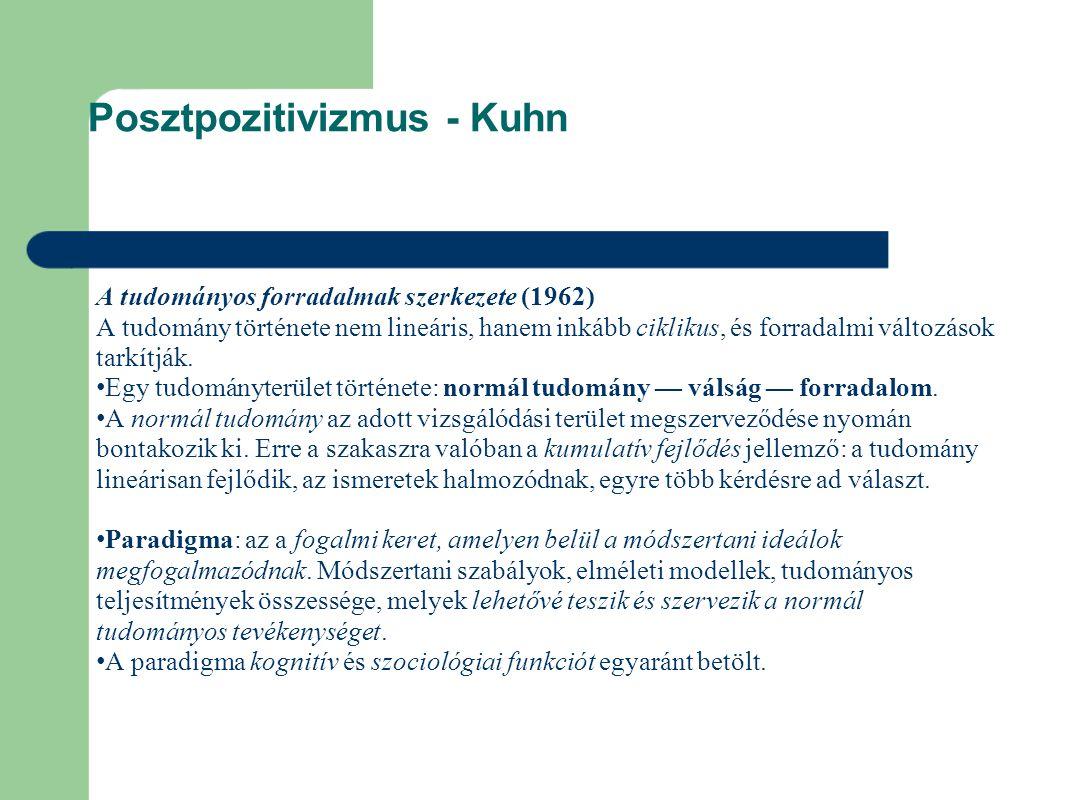 Posztpozitivizmus - Kuhn A tudományos forradalmak szerkezete (1962) A tudomány története nem lineáris, hanem inkább ciklikus, és forradalmi változások tarkítják.