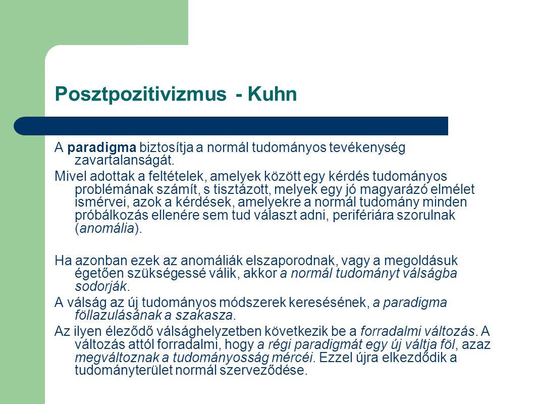 Posztpozitivizmus - Kuhn A paradigma biztosítja a normál tudományos tevékenység zavartalanságát.