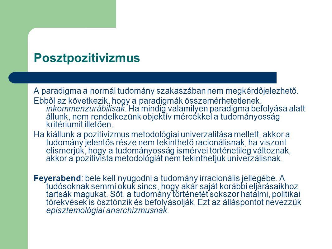 Posztpozitivizmus A paradigma a normál tudomány szakaszában nem megkérdőjelezhető.