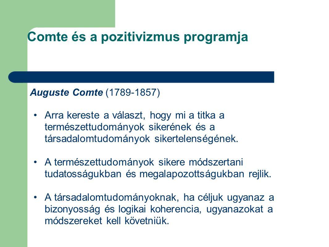 Comte és a pozitivizmus programja Auguste Comte (1789-1857) Arra kereste a választ, hogy mi a titka a természettudományok sikerének és a társadalomtudományok sikertelenségének.