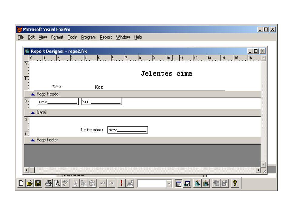 - PAGE HEADER: a lap felső sávja, a fejléc, amely rendszerint a jelentés címét, dátumát vagy épen lapszámot tartalmaz.