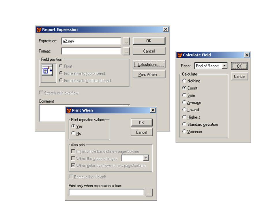 Jelentés vezérlő elemei - TEXT: konstans szöveg - FIELD: adatmező, mely adattábla mező és memória változó is lehet - LINE: vonal - RECTANGLE: téglalap alakú keretvonal - ROUNDED RECTANGLE: lekerekített sarkú keretvonal - PICTURE: kép Egyéb elemek: PRINT WHEN : feltételes kiíratás CALCULATE : aggregáció