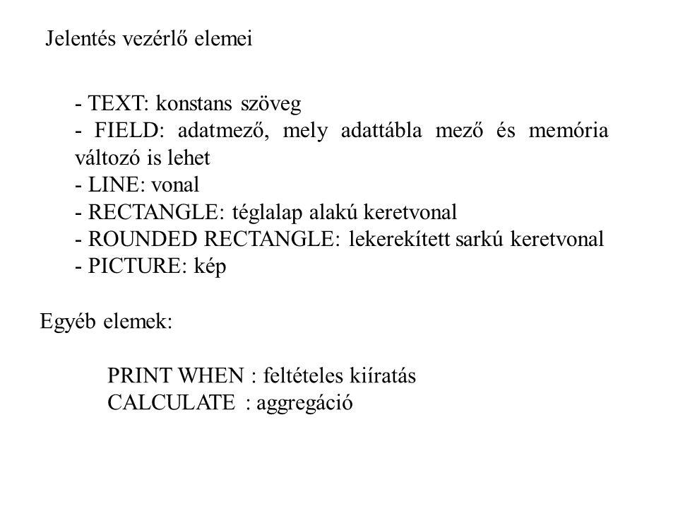 Jelentés vezérlő elemei - TEXT: konstans szöveg - FIELD: adatmező, mely adattábla mező és memória változó is lehet - LINE: vonal - RECTANGLE: téglalap