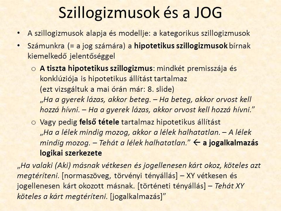 Szillogizmusok és a JOG A szillogizmusok alapja és modellje: a kategorikus szillogizmusok Számunkra (= a jog számára) a hipotetikus szillogizmusok bír