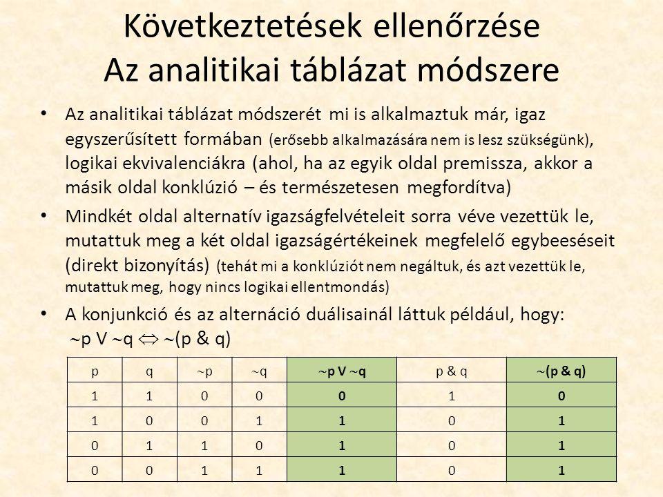 Következtetések ellenőrzése Az analitikai táblázat módszere Az analitikai táblázat módszerét mi is alkalmaztuk már, igaz egyszerűsített formában (erős