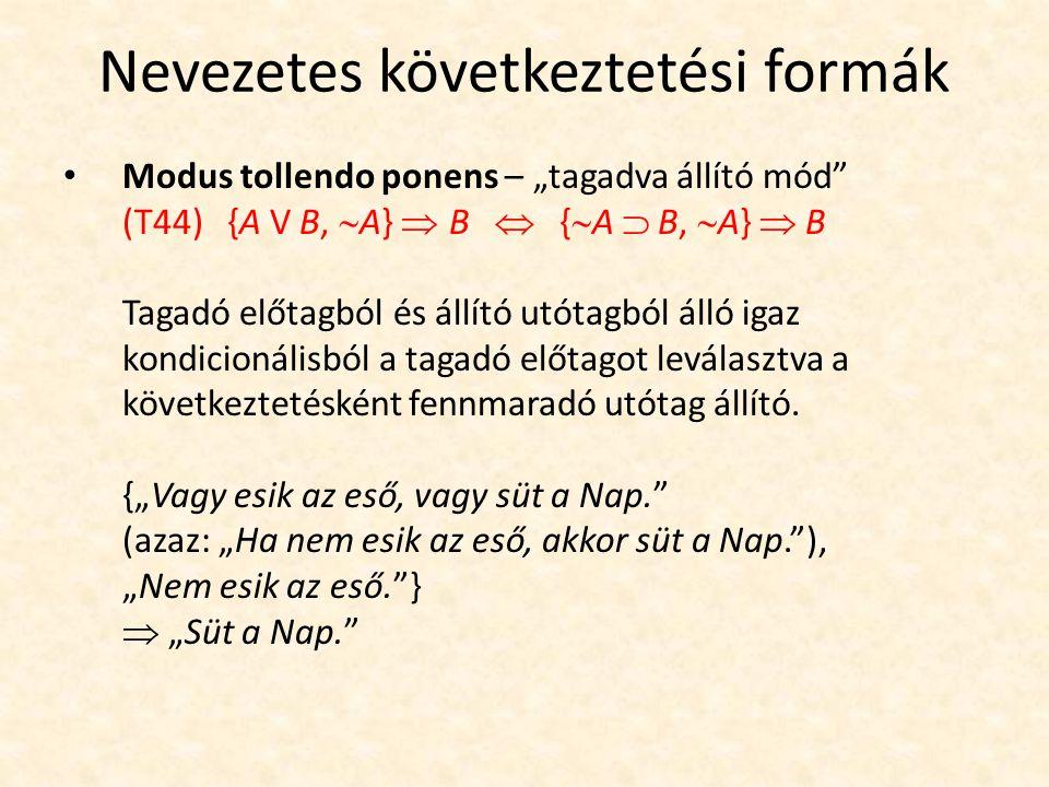 """Nevezetes következtetési formák Modus tollendo ponens – """"tagadva állító mód"""" (T44) {A V B,  A}  B  {  A  B,  A}  B Tagadó előtagból és állító"""