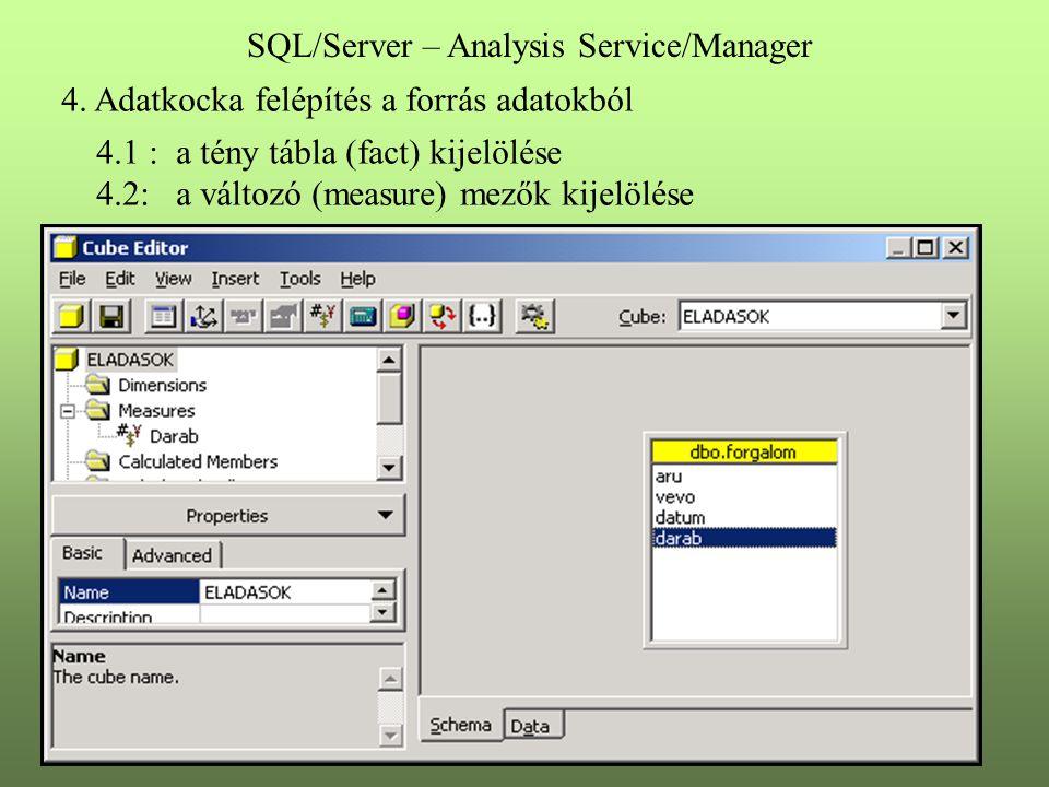 4. Adatkocka felépítés a forrás adatokból 4.1 : a tény tábla (fact) kijelölése 4.2: a változó (measure) mezők kijelölése SQL/Server – Analysis Service