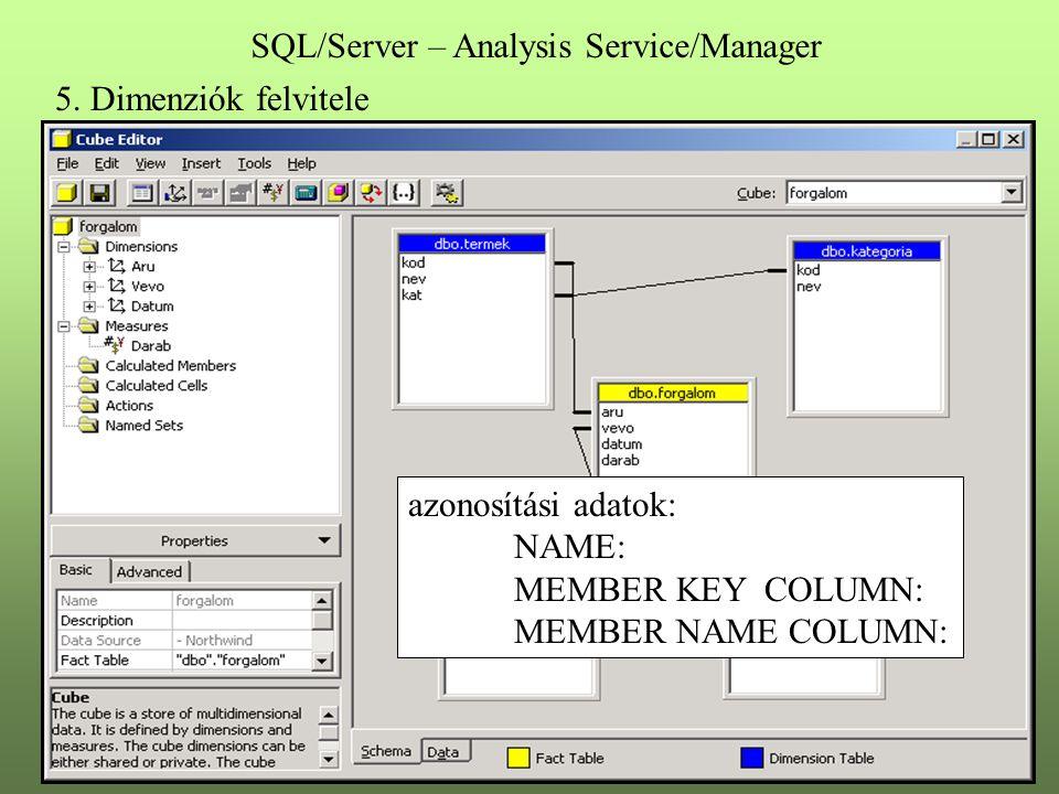 5. Dimenziók felvitele SQL/Server – Analysis Service/Manager azonosítási adatok: NAME: MEMBER KEY COLUMN: MEMBER NAME COLUMN: