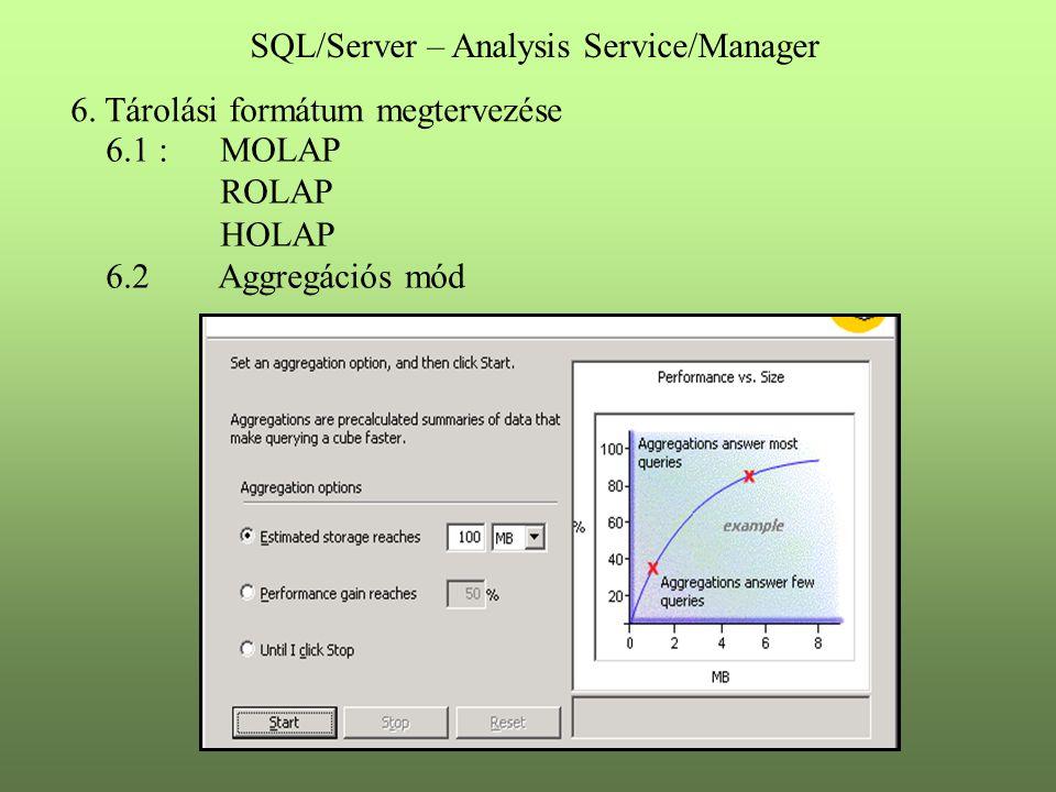 6. Tárolási formátum megtervezése 6.1 : MOLAP ROLAP HOLAP 6.2 Aggregációs mód SQL/Server – Analysis Service/Manager