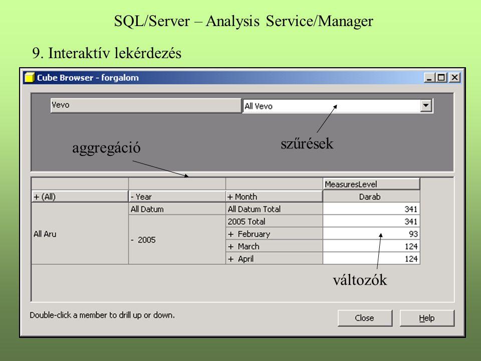 9. Interaktív lekérdezés szűrések aggregáció változók SQL/Server – Analysis Service/Manager