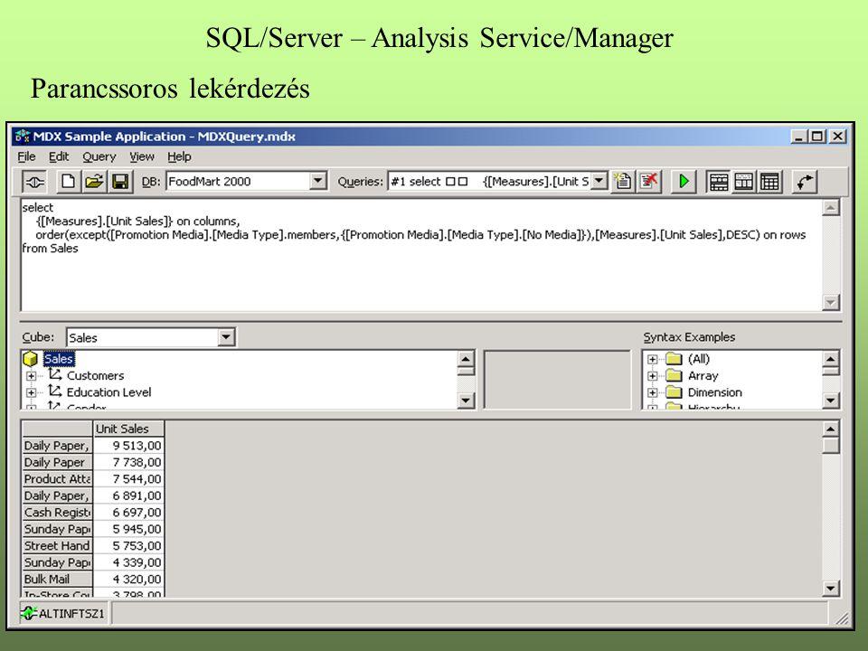 Parancssoros lekérdezés SQL/Server – Analysis Service/Manager