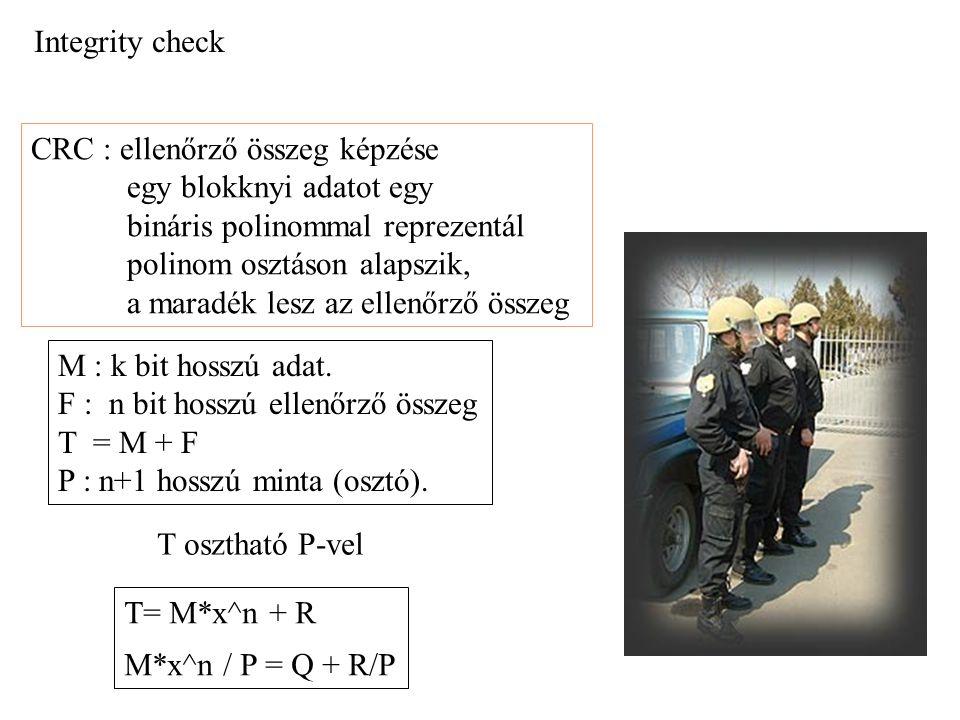 CRC algoritmus FUNCTION CDC PARAMETERS szoveg P, n, N1 M = BITLSHIFT(szoveg,n) ; S = 0 FOR i = N1-1 TO 0 STEP -1 S = BITOR( BITLSHIFT(S,1), IIF( BITTEST(M,i),1,0)) IF BITTEST(S,n) THEN S = BITXOR(S,P) ENDIF S = BITAND(S,2^n-1) ENDFOR RETURN S speciális mod-2 polinom osztás művelet